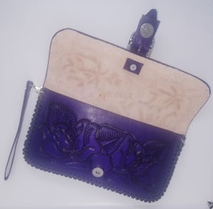 Image of Purple Hand-Tooled Leather Clutch with Wristlet and Crossbody Strap