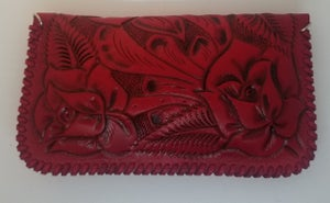 Image of Red Hand-Tooled Leather Clutch with Wristlet and Crossbody Strap