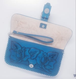 Image of Turquoise Hand-Tooled Leather Clutch with Wristlet and Crossbody Strap