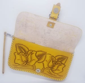 Image of  Yellow Hand-Tooled Leather Clutch with Wristlet and Crossbody Strap