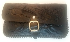 Image of Black Hand-Tooled Leather Clutch with Wristlet and Crossbody Strap