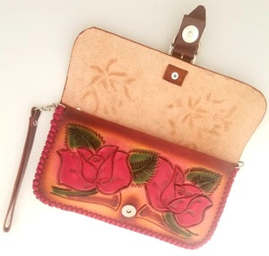 Image of Brown and Red Hand Tooled Leather Clutch Wristlet