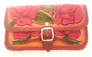 Image of Brown with Red Roses Hand-Tooled Leather Clutch with Wristlet and Crossbody Strap