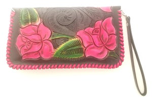 Image of Black with Red Roses Hand-Tooled Leather Clutch with Wristlet and Crossbody Strap