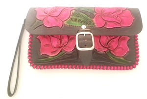 Image of Black and Red Hand Tooled Leather Clutch Wristlet