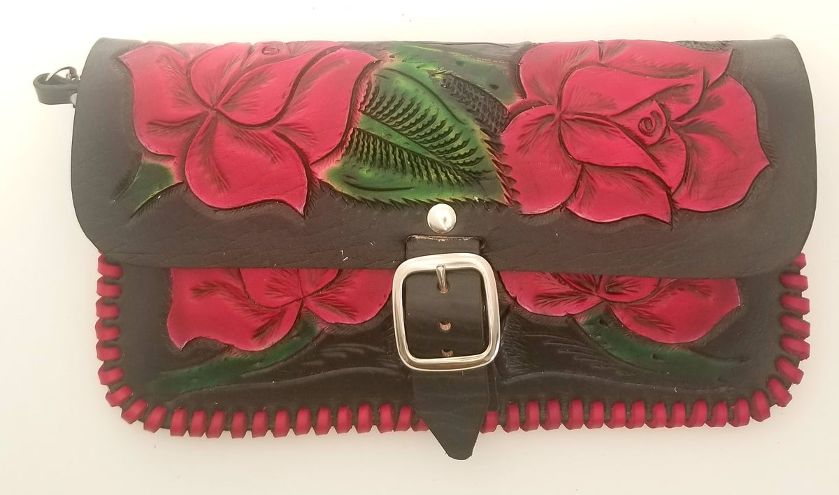 Image of Black with Pink Roses Hand-Tooled Leather Clutch with Wristlet and Crossbody Strap