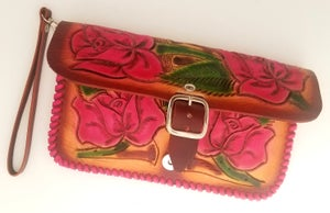 Image of Brown with Pink Roses Hand-Tooled Leather Clutch with Wristlet and Crossbody Strap