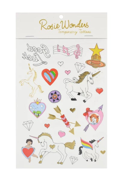 Image of Mini Unicorns A6 Temporary Tattoos