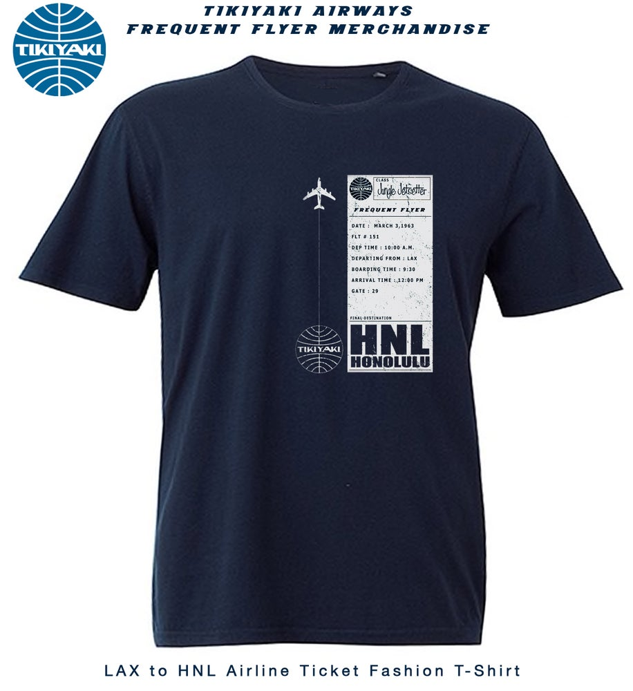 "Image of ""Tikiyaki Airways"" LAX to HNL Vintage Plane Ticket Navy T-Shirt"