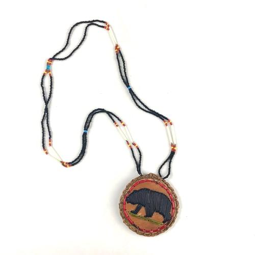 Image of Quilled Birchbark Medallion (Bear)