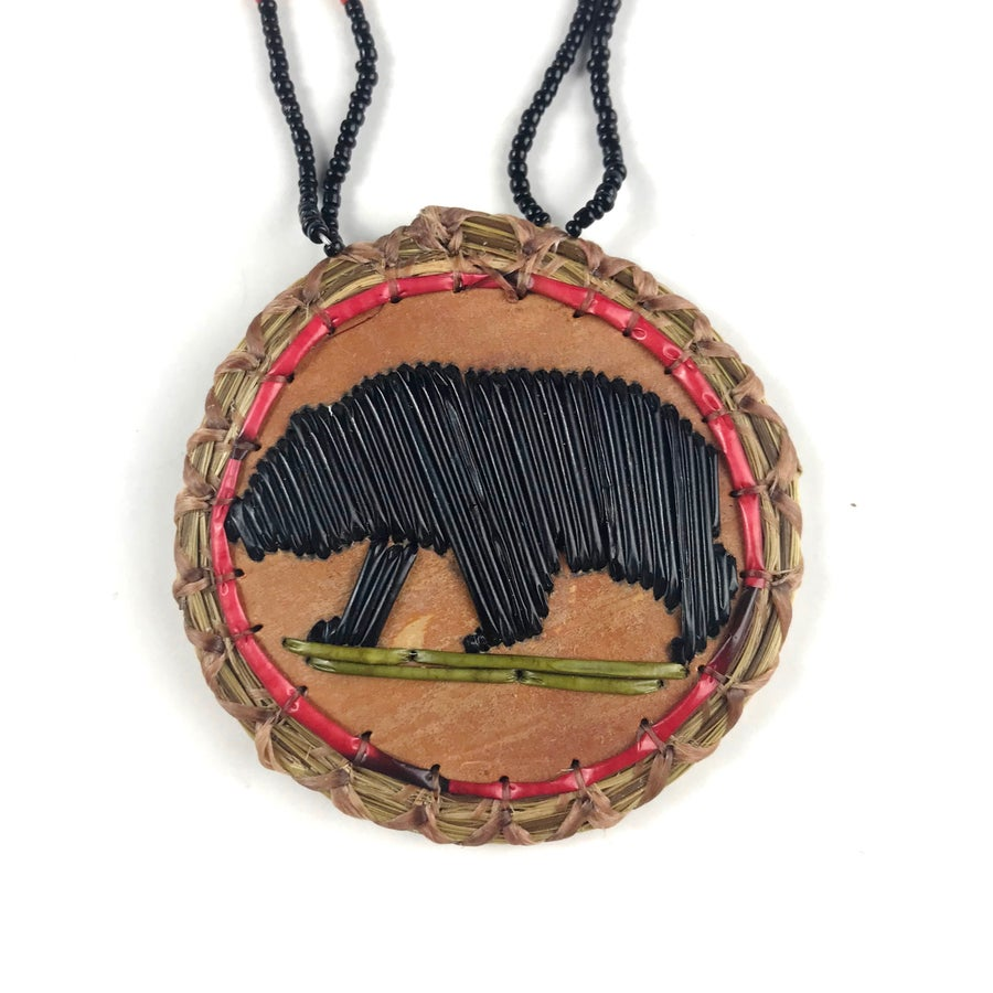 Image of Quilled Birchbark Medallion (Bear)