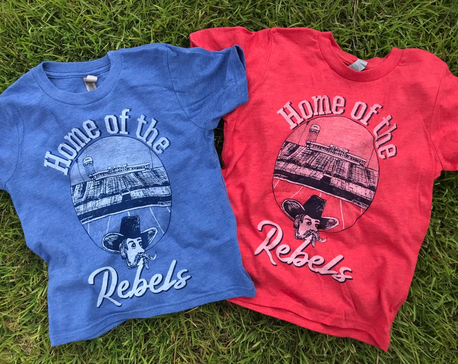 Image of Youth Home of the Rebels Tee in Red or Blue