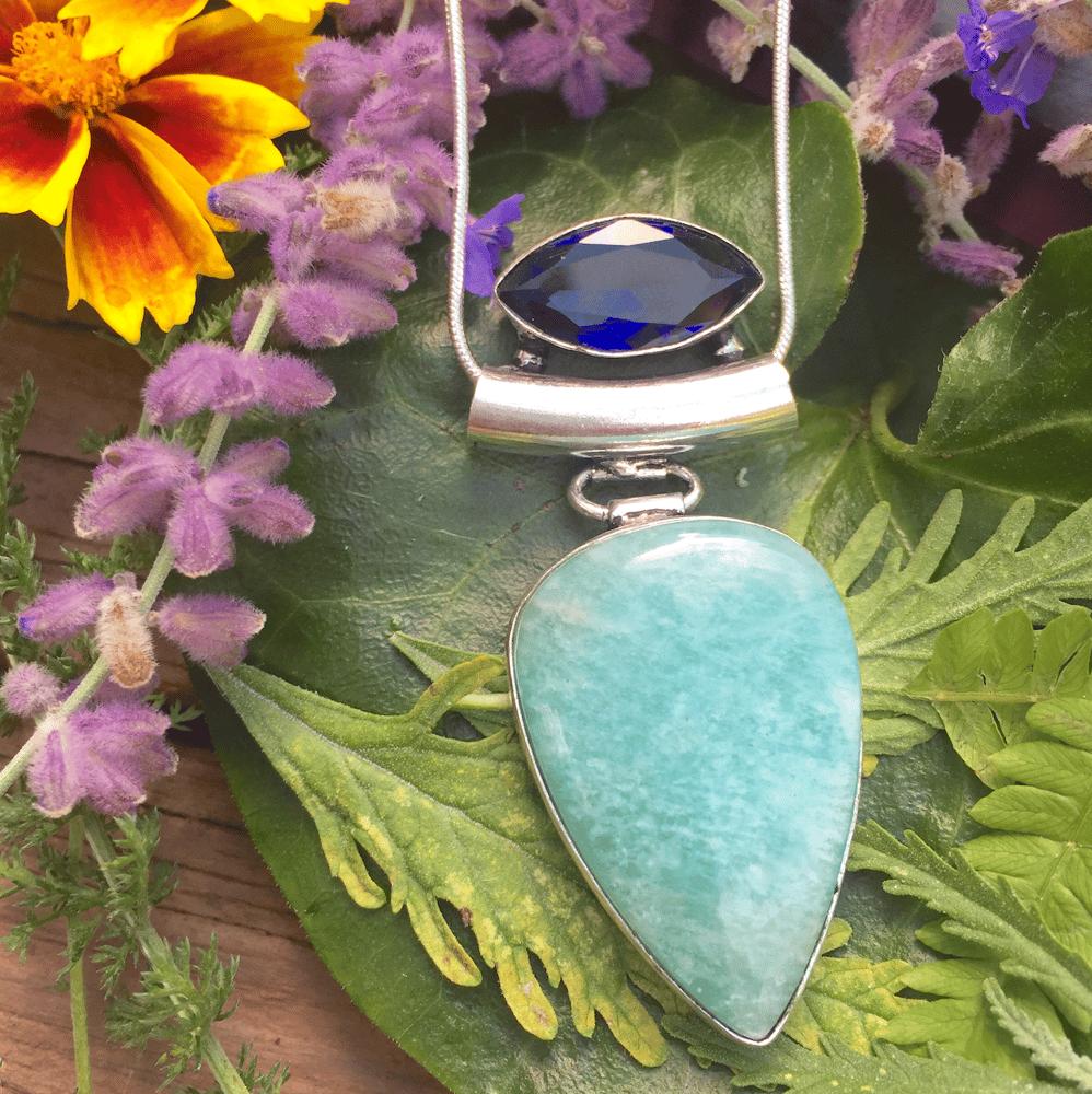 Image of Juicy Sapphire + Lush Amazonite Throat Chakra Amulet