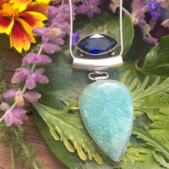 Image of Juicy Sapphire + Lush Amazonite Throat Chakra Amulet