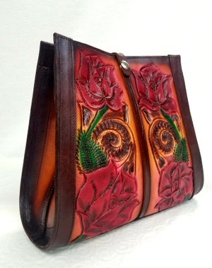 Image of Brown with Red Roses Hand-Tooled Leather Tote Bag