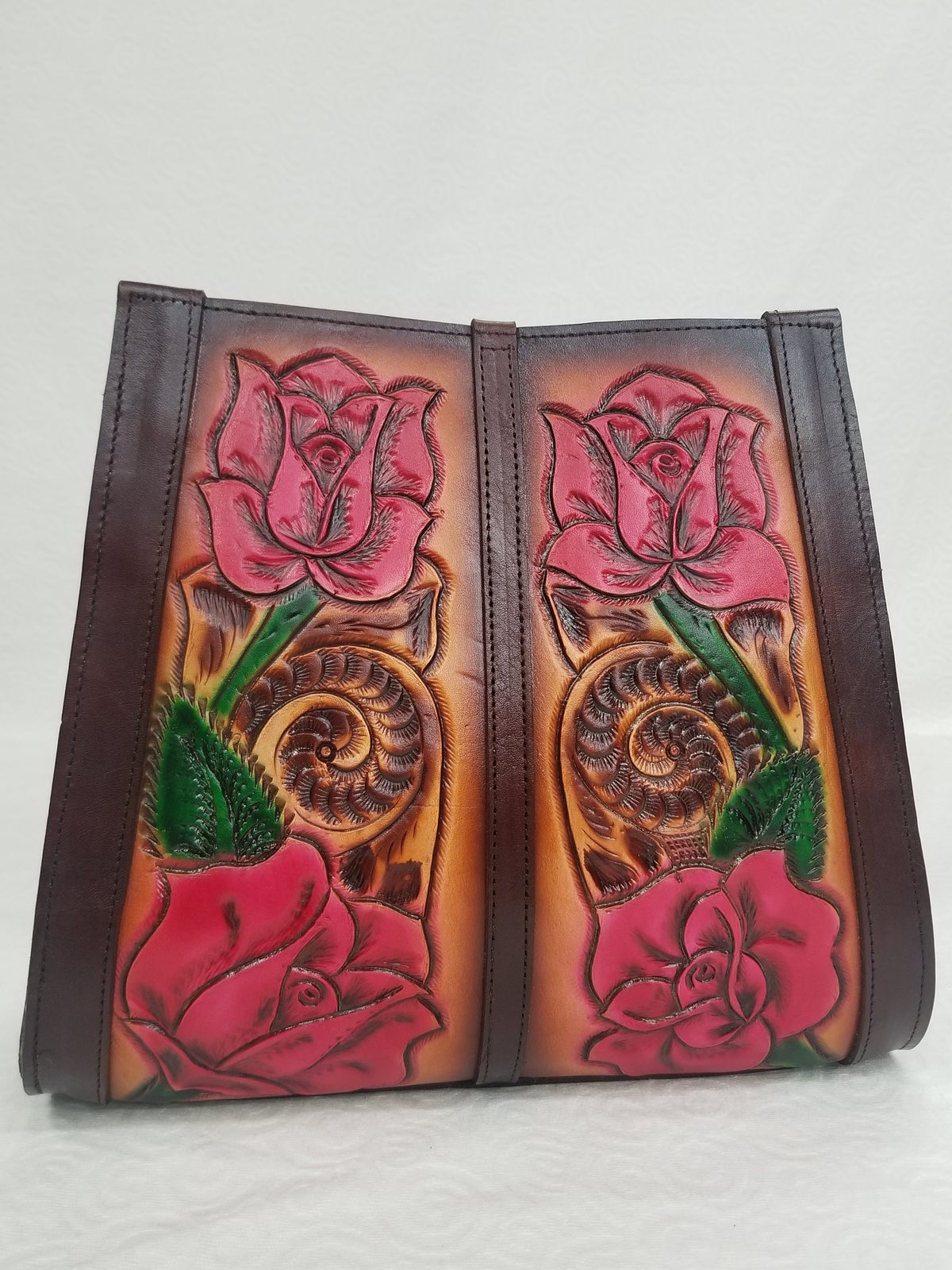 Image of Brown with Pink Roses Hand-Tooled Leather Tote Bag