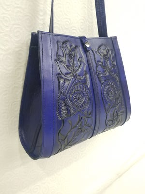 Image of Purple Colored Hand-Tooled Leather Tote Bag