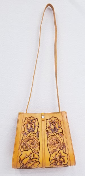 Image of Yellow Colored Hand-Tooled Leather Tote Bag