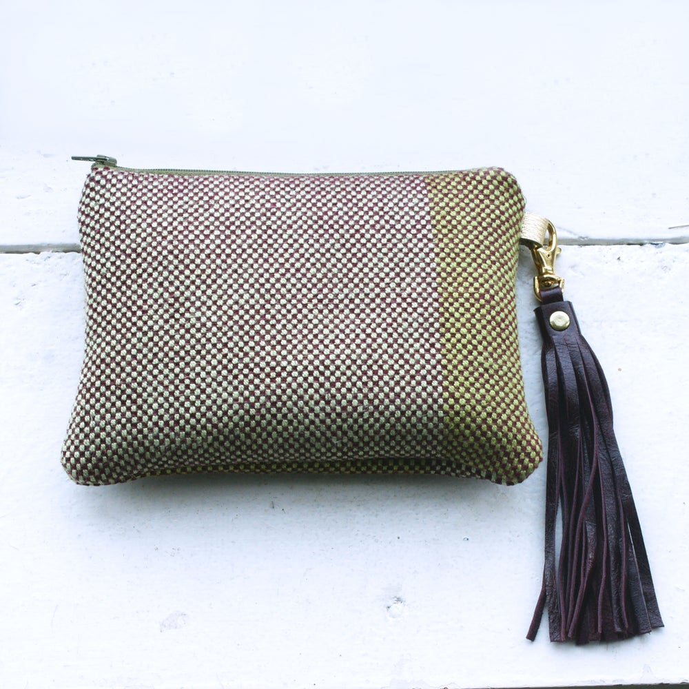 Image of Wool Check Ally's Big Sister bag - green and plum.