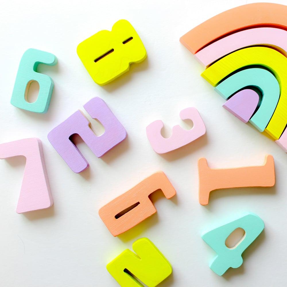 Image of Wooden Numbers - Sherbert