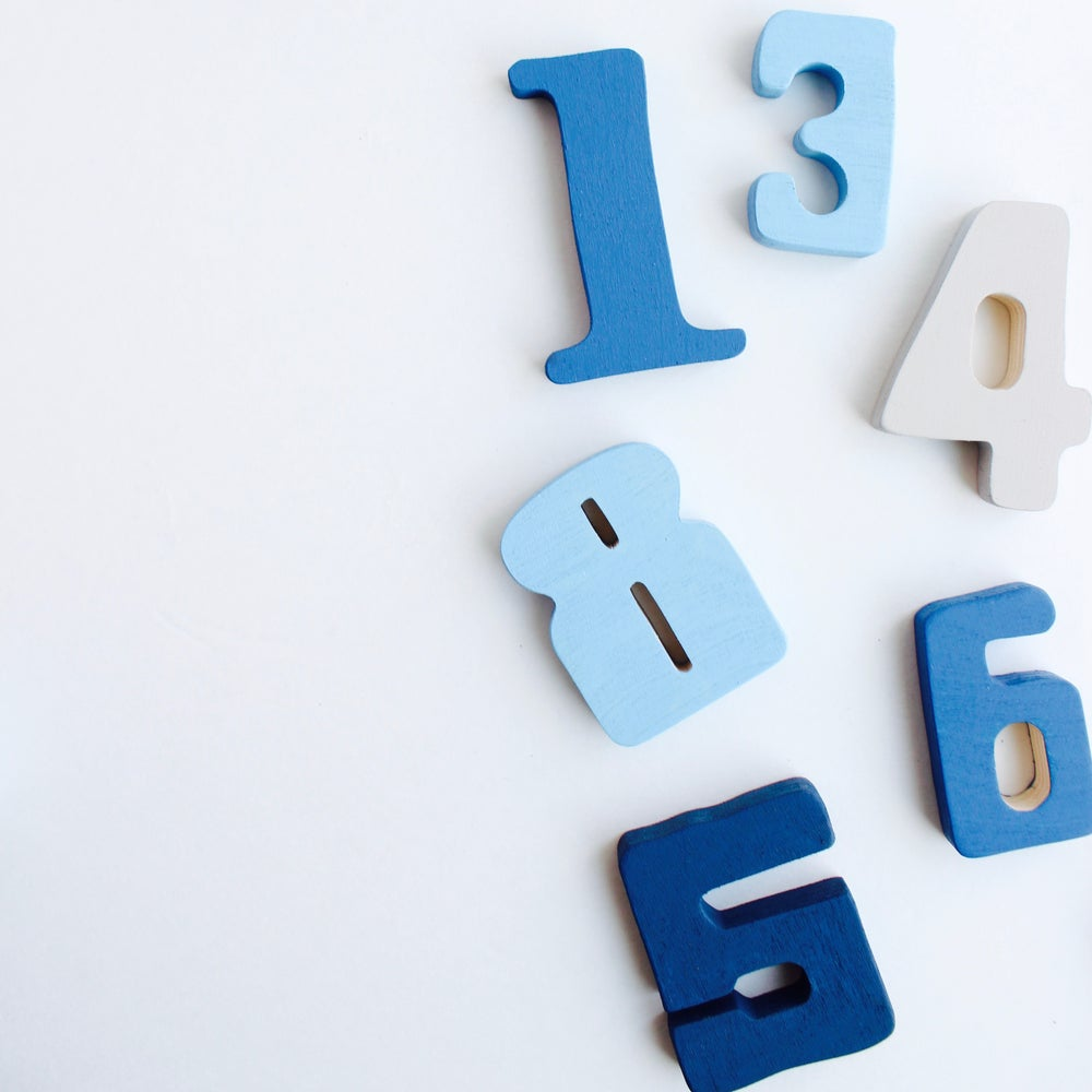 Image of Wooden Numbers - Blue