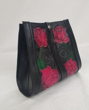 Image of Black with Pink Roses Hand-Tooled Leather Tote Bag