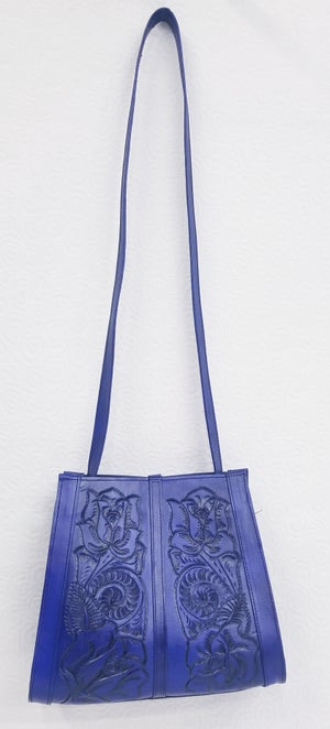 Image of Blue Color Hand Tooled Leather Tote Bag