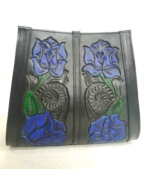 Image of Black with Blue Roses Hand-Tooled Leather Tote Bag