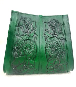 Image of green Color Hand Tooled Leather Tote Bag