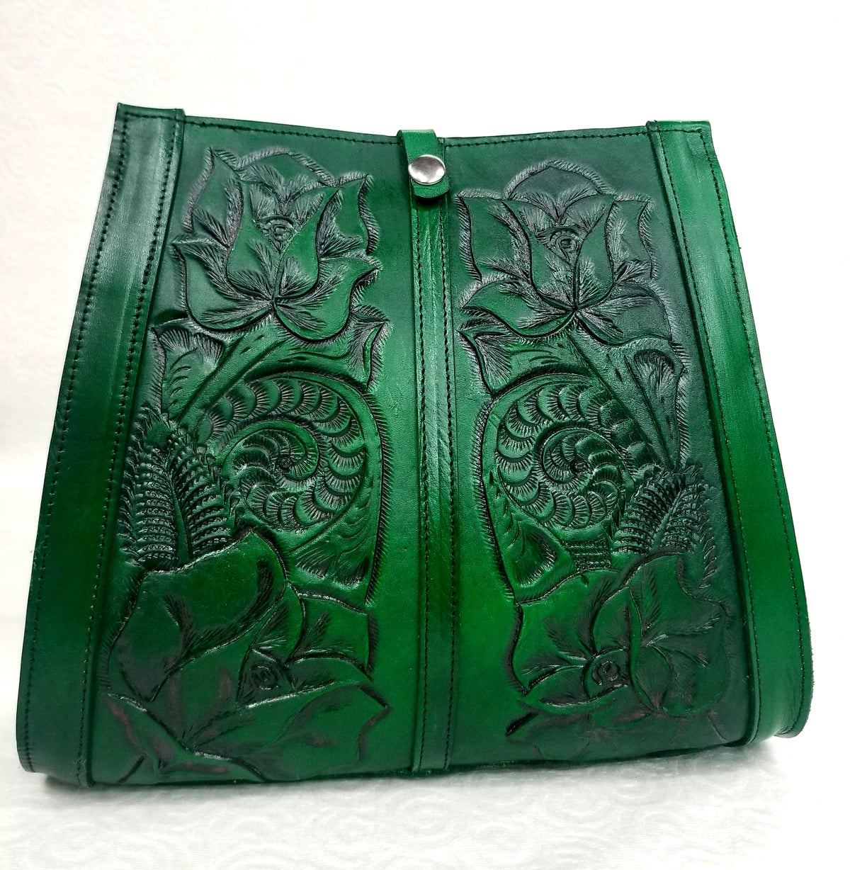 Image of Green Colored Hand-Tooled Leather Tote Bag