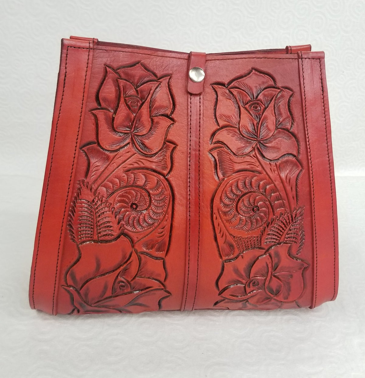 Image of Orange Colored Hand-Tooled Leather Tote Bag