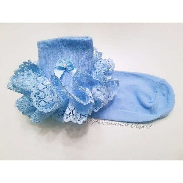 Image of Sky Blue Laced Ruffle Socks