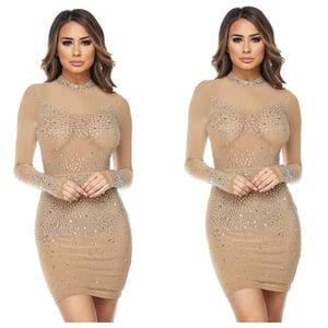 Image of Mesh rhinestone dress