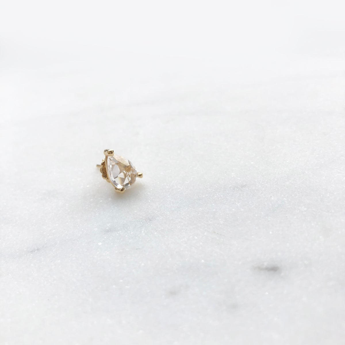 Image of White Sapphire Pear Stud Earring (Single piece)