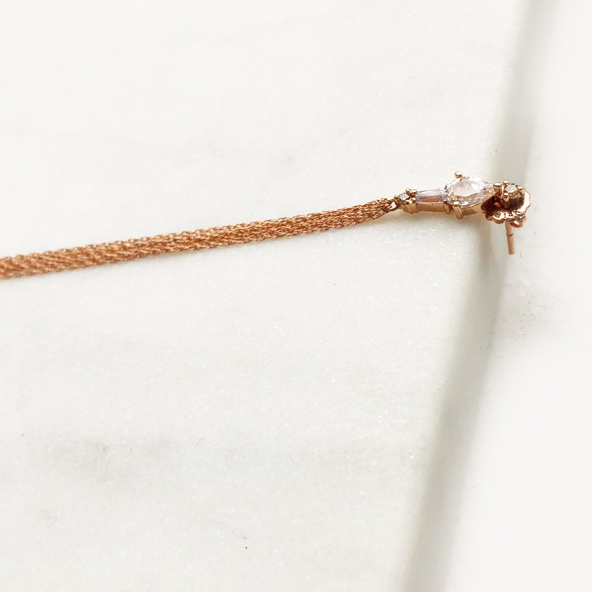 Image of Adele White Sapphire Tassel Earring (single piece)