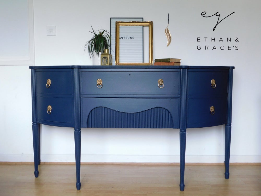Image of A solid mahogany dark blue sideboard