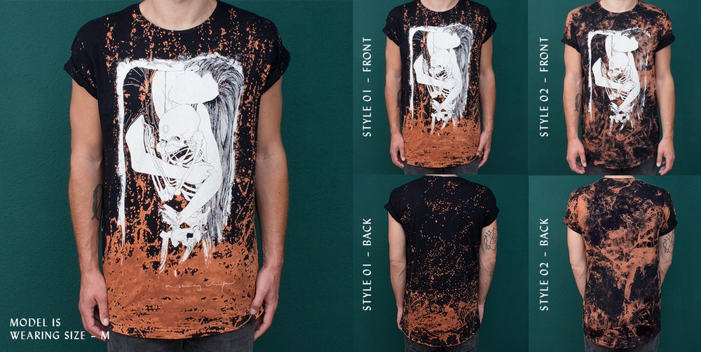 Image of T-Shirt – Illusions in decay - ACID WASHED / BLACK