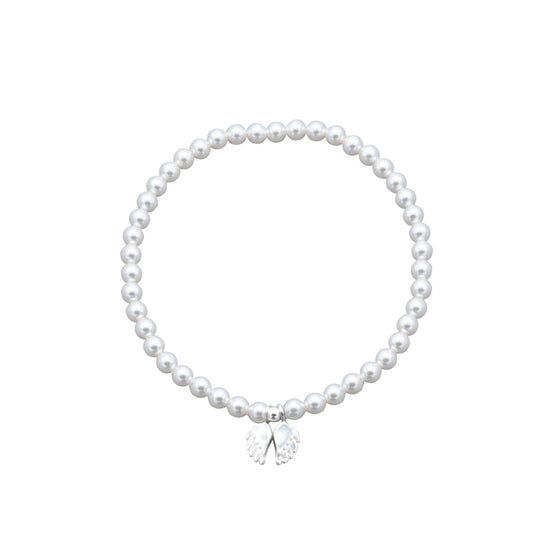 Image of NEW Peace Swarovski Pearl Angel Wings Bracelet
