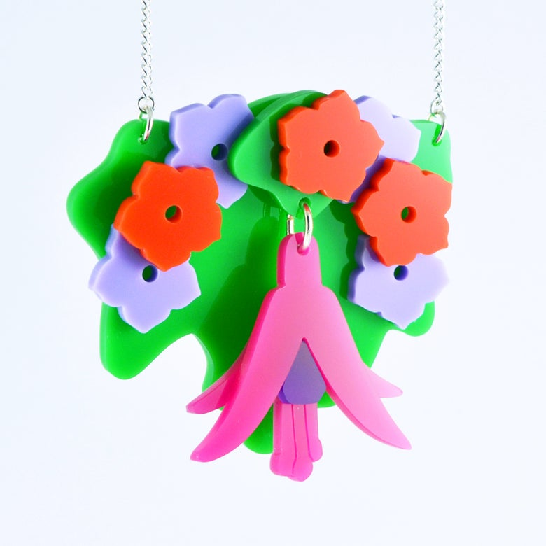 Image of Fuchsia Hanging Basket Necklace