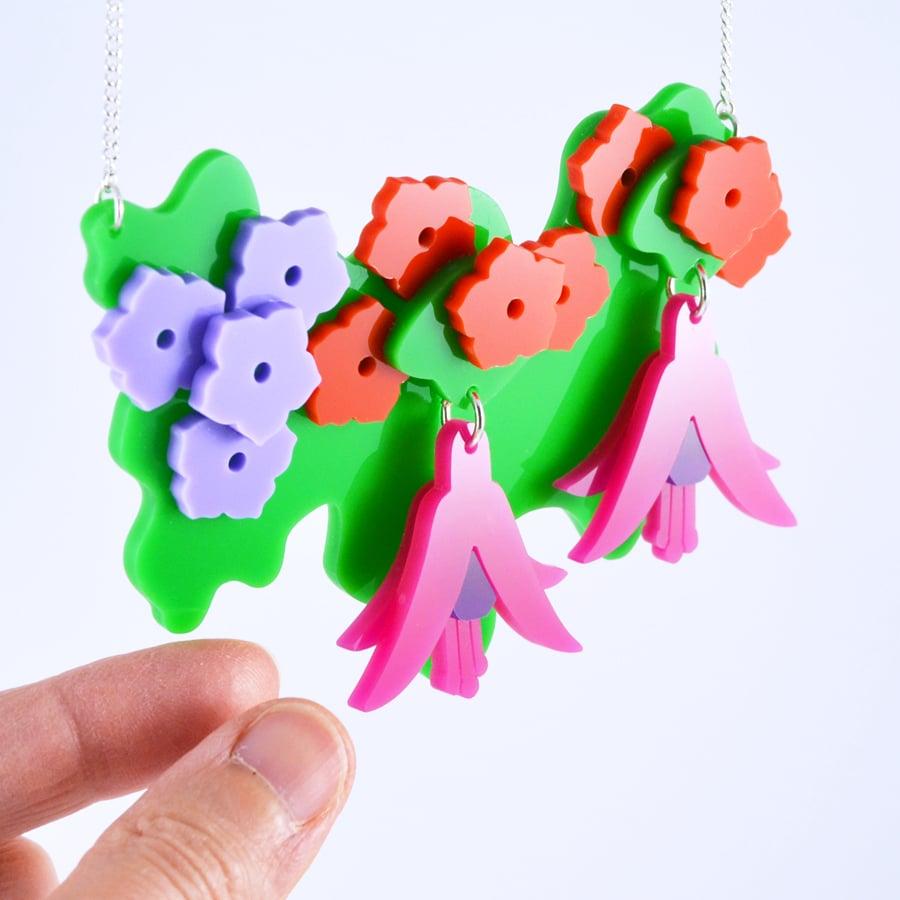 Image of Fuchsia Hanging Basket Statement Necklace