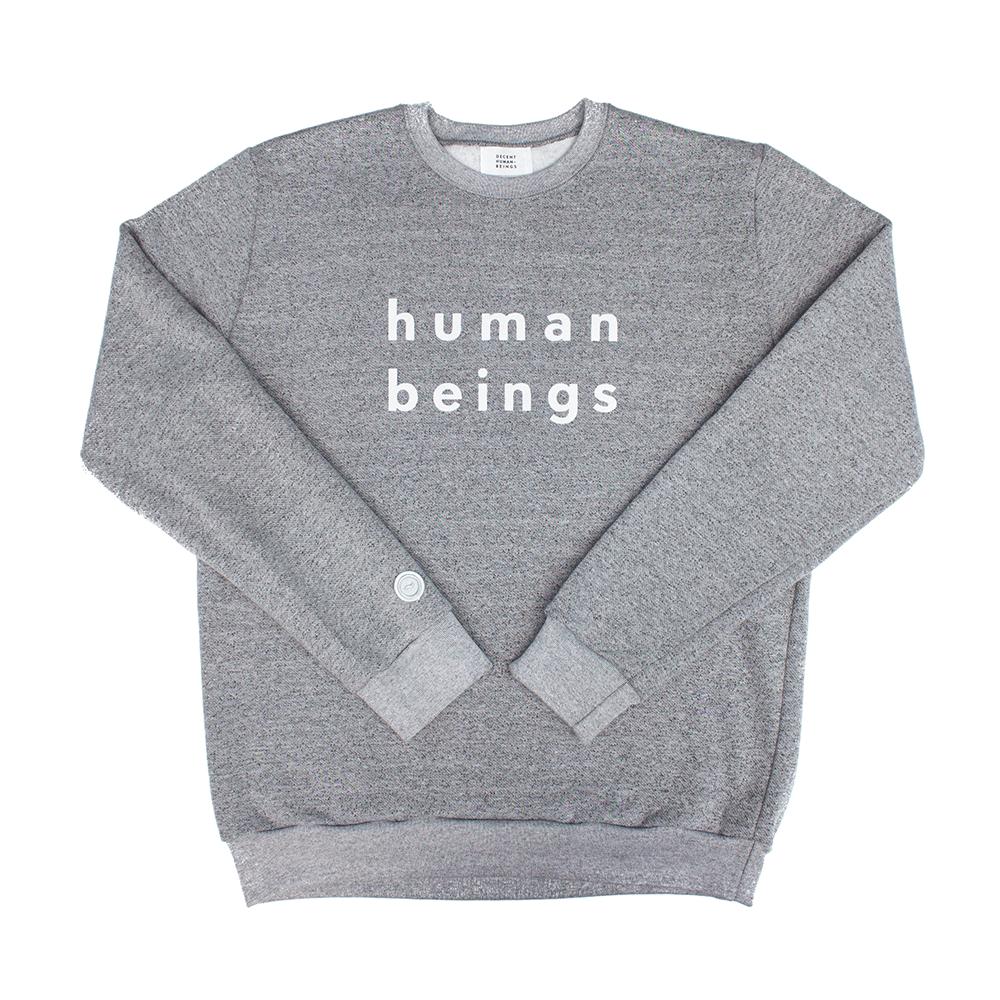 Image of human beings marled crewneck sweatshirt - grey
