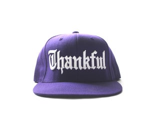 Image of PURPLE THANKFUL SNAPBACK OLD ENGLISH