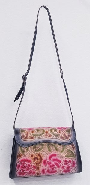 Image of Black with Pink Flowers Leather Hand-Tooled Flap Purse