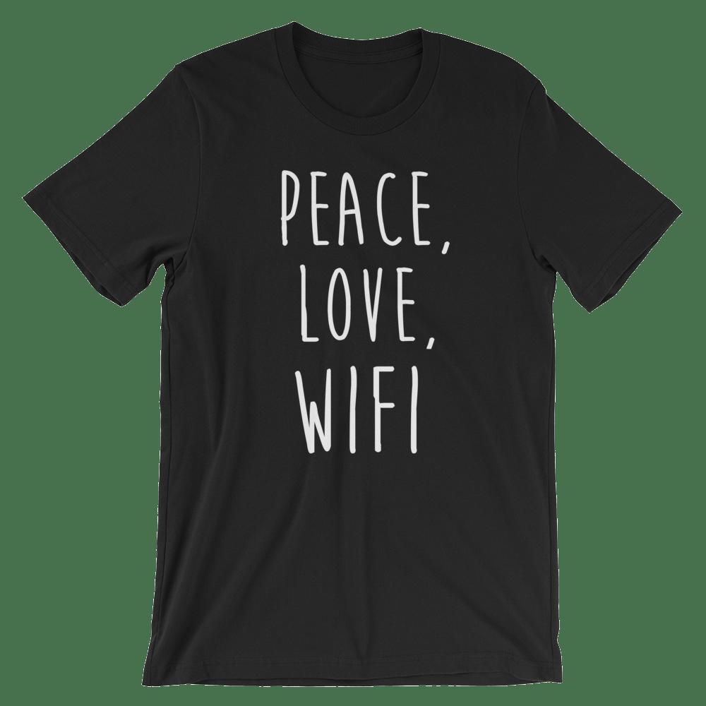 Image of Classic Peace, Love, Wifi shirt