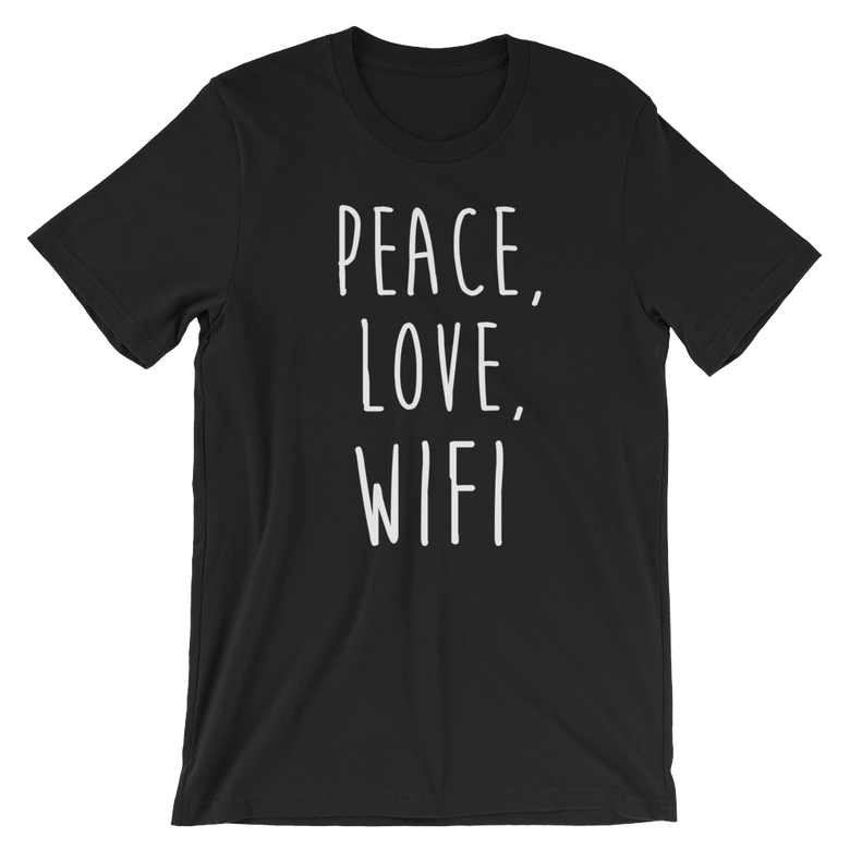 Image of Classic Peace, Love, Wifi shirt