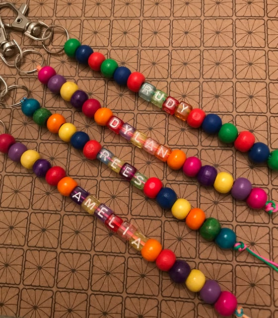 Image of Personalised multi coloured keyring