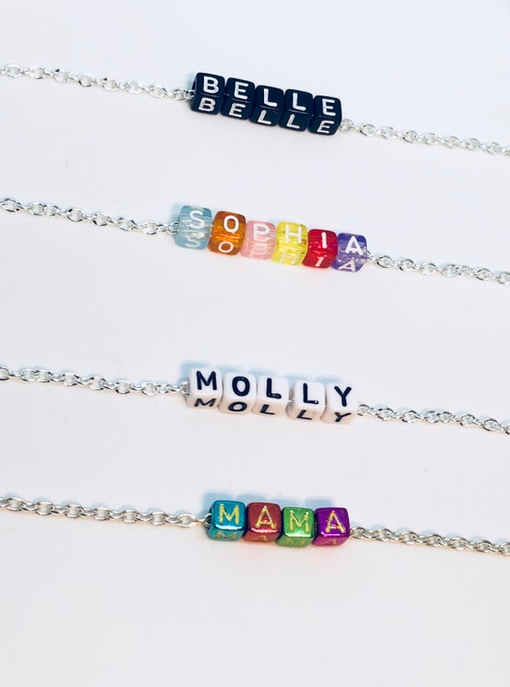 Image of Personalised Name Necklace - 4 Colour cube options