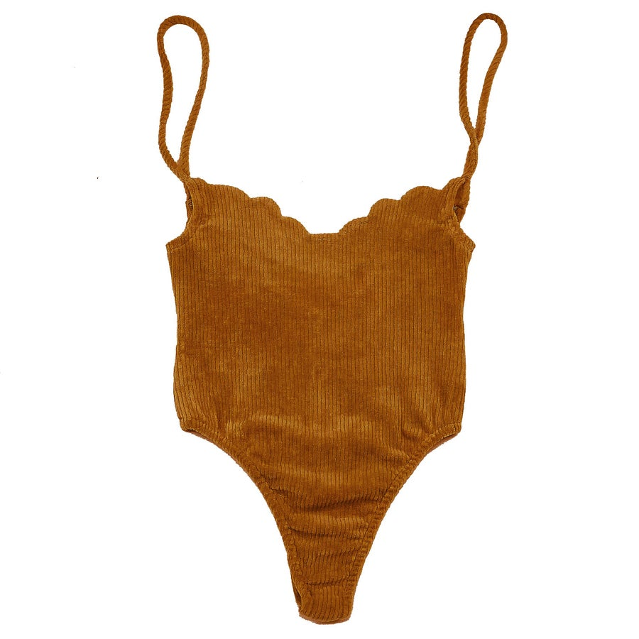 Image of 70's SCALLOP BODYSUIT- AUTUMN ORANGE