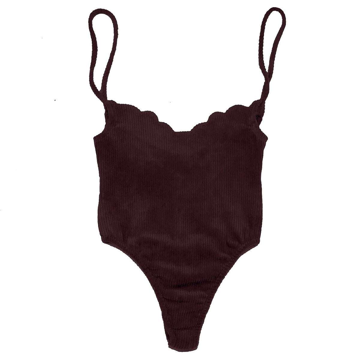 70's SCALLOP BODYSUIT- WINE