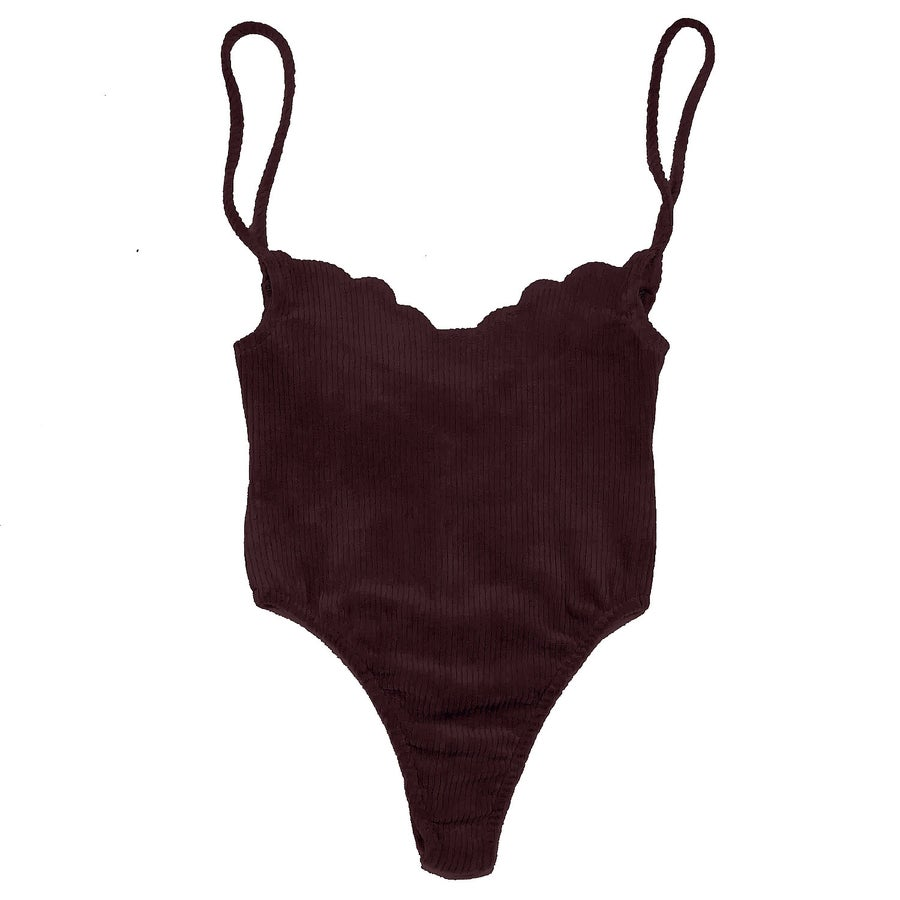 Image of 70's SCALLOP BODYSUIT- WINE